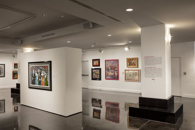 **Installation view**, ***Papel Chicano Dos: Works on Paper from the Collection of Cheech Marin***, El Paso Museum of Art, February 16 – June 17, 2018. Photograph by Christ Chavez.